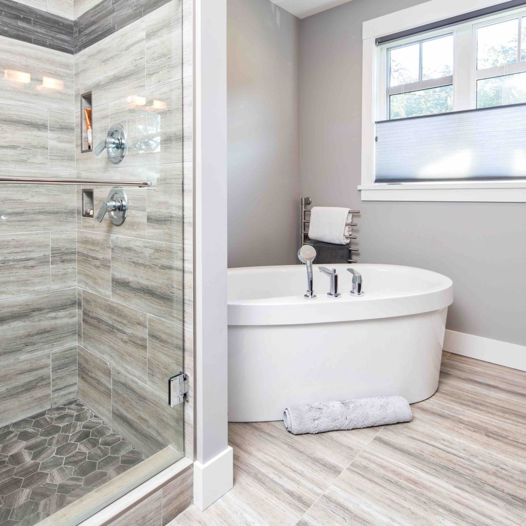 bathroom tub and shower in custom built home