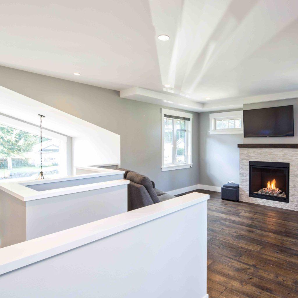 gas fireplace in modern custom built home